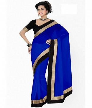 Lace work Blue Chiffon saree@ Rs.432.00