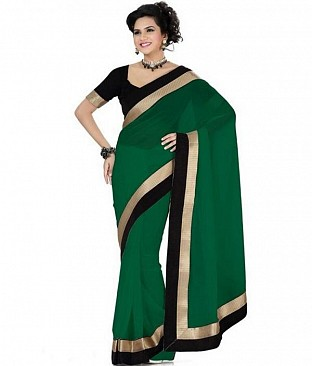 Lace work Green Chiffon saree @ Rs432.00