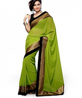 Lace work Parrot Green Chiffon saree @ Rs444.00