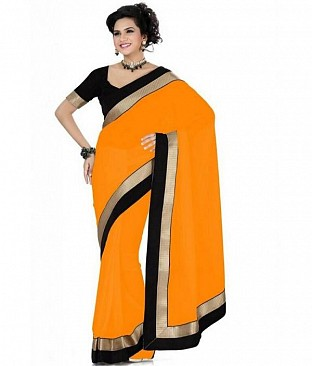 Lace work Orange Chiffon saree@ Rs.444.00