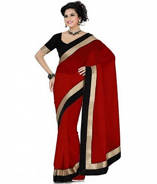 Lace work Red Chiffon saree @ Rs444.00