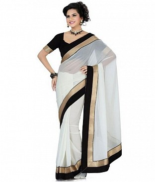 Lace work White Chiffon saree@ Rs.444.00