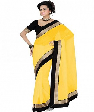 Lace work Yellow Chiffon saree @ Rs444.00