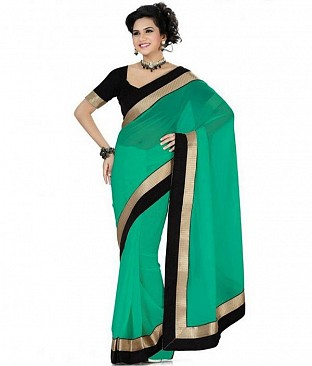 Lace work Green Chiffon saree@ Rs.444.00