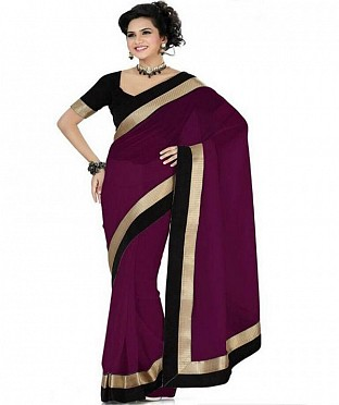 Lace work Maroon Chiffon saree @ Rs444.00
