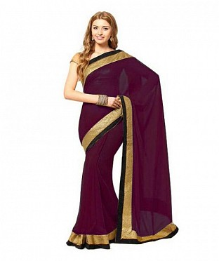 Lace work Maroon Chiffon saree@ Rs.444.00
