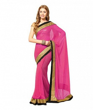 Lace work Pink Chiffon saree @ Rs444.00