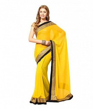 Lace work Yellow Chiffon saree@ Rs.444.00