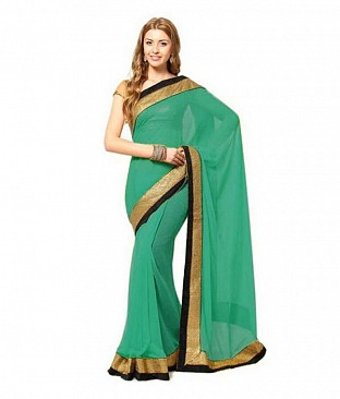 Lace work Green Chiffon saree @ Rs444.00