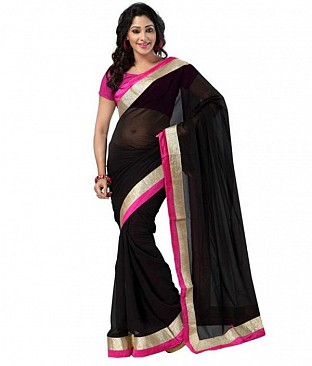 Lace work Black and Pink Chiffon saree @ Rs444.00