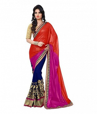 Embroidered Pink Georgette Saree @ Rs1013.00