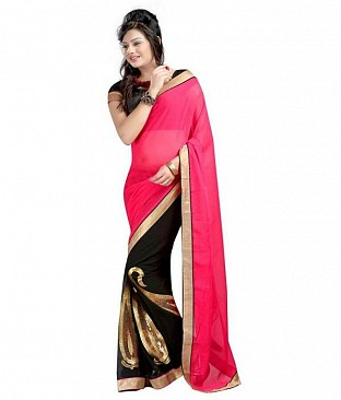 Lace work Pink Chiffon saree @ Rs569.00