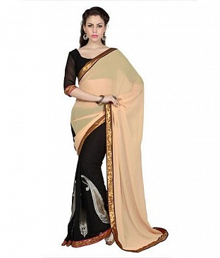 Lace work Beige Chiffon saree @ Rs569.00