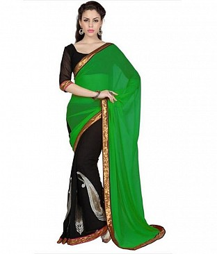 Lace work Green Chiffon saree @ Rs569.00