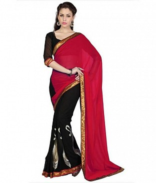 Lace work Red Chiffon saree @ Rs569.00