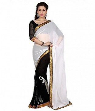 Lace work  White Chiffon saree @ Rs569.00