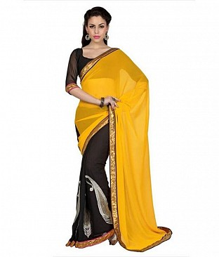 Lace work Yellow Chiffon saree @ Rs569.00