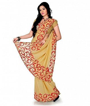 Embroidered Fashion Chiffon Beige saree @ Rs569.00