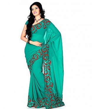 Embroidered Fashion Chiffon Green saree @ Rs569.00