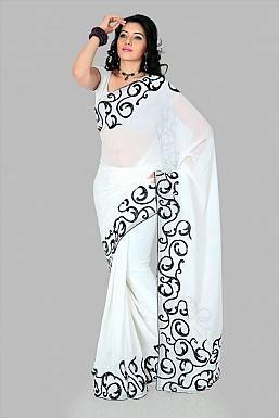 Embroidered Fashion Chiffon White saree @ Rs569.00