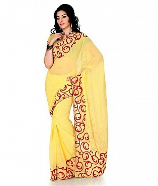 Embroidered Fashion Chiffon Yellow saree @ Rs569.00