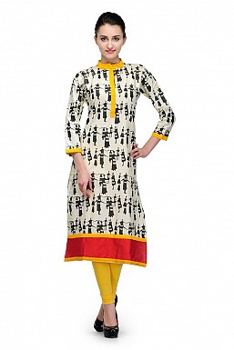 Panchi Multicolor Partywear Printed Cotton Kurti @ Rs432.00