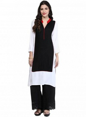 Panchi Plain Black & White Bollywood inspired cotton kurti @ Rs271.00