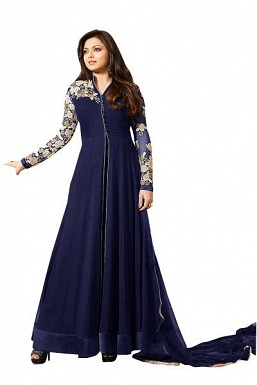 Designer Blue Pure Georgette Gown type salwar suit @ Rs1298.00