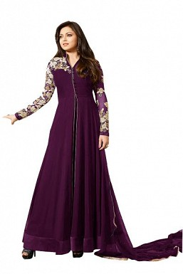 Designer Purple Pure Georgette Gown type salwar suit@ Rs.1298.00