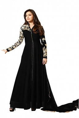 Designer Black Pure Georgette Gown type salwar suit @ Rs1595.00