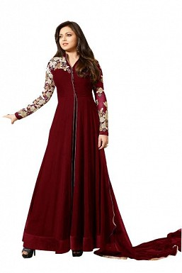 Designer Maroon Pure Georgette Gown type salwar suit @ Rs1595.00
