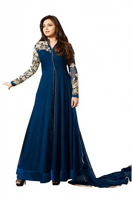 Designer Navy blue Pure Georgette Gown type salwar suit @ Rs1595.00