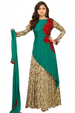 Green semi stitched Pure Georgette Gown type salwar suit @ Rs1669.00