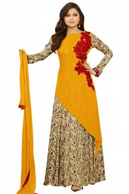 Yellow semi stitched Pure Georgette Gown type salwar suit @ Rs1669.00