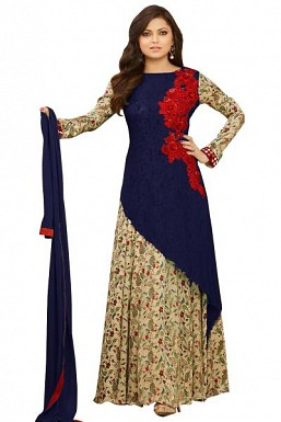 Blue semi stitched Pure Georgette Gown type salwar suit @ Rs1669.00
