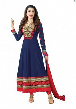 Stunning Blue Semi-stitched Salwar Suit @ Rs1051.00
