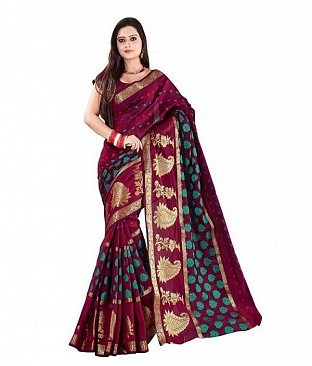 Red Jacquard silk saree @ Rs1173.00