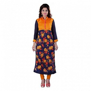 Orange Bhagalpuri Printed Kurti @ Rs432.00
