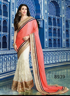 Peach 60gm georgette,Net Saree @ Rs1482.00