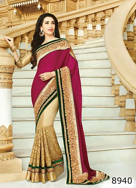 Pink & Beige 60gm georgette,Net Saree @ Rs1482.00