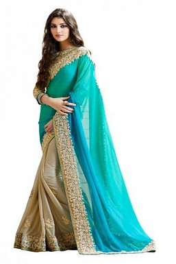 Beautiful Blue and Beige Embroidery Lace work Saree @ Rs989.00