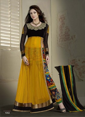 Latest Black and yellow Designer Velvet and net Anarkali Suits@ Rs.1113.00