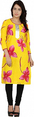 Yellow Floral Print Cotton  Kurti @ Rs555.00