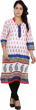 White Printed Cotton  Kurti @ Rs617.00