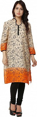 Beige Tribal Print Cotton  Kurti @ Rs864.00