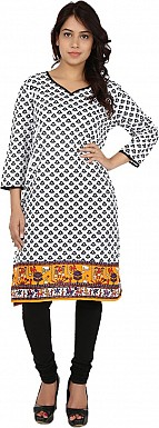 White Tribal Print Cotton  Kurti @ Rs617.00