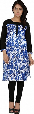 Blue Floral Print Cotton  Kurti @ Rs741.00