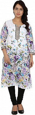 White Floral Print Cotton  Kurti @ Rs679.00