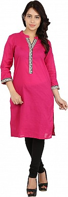 Pink Solid Print Cotton  Kurti @ Rs679.00