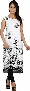 White Floral Print Cotton  Kurti @ Rs617.00